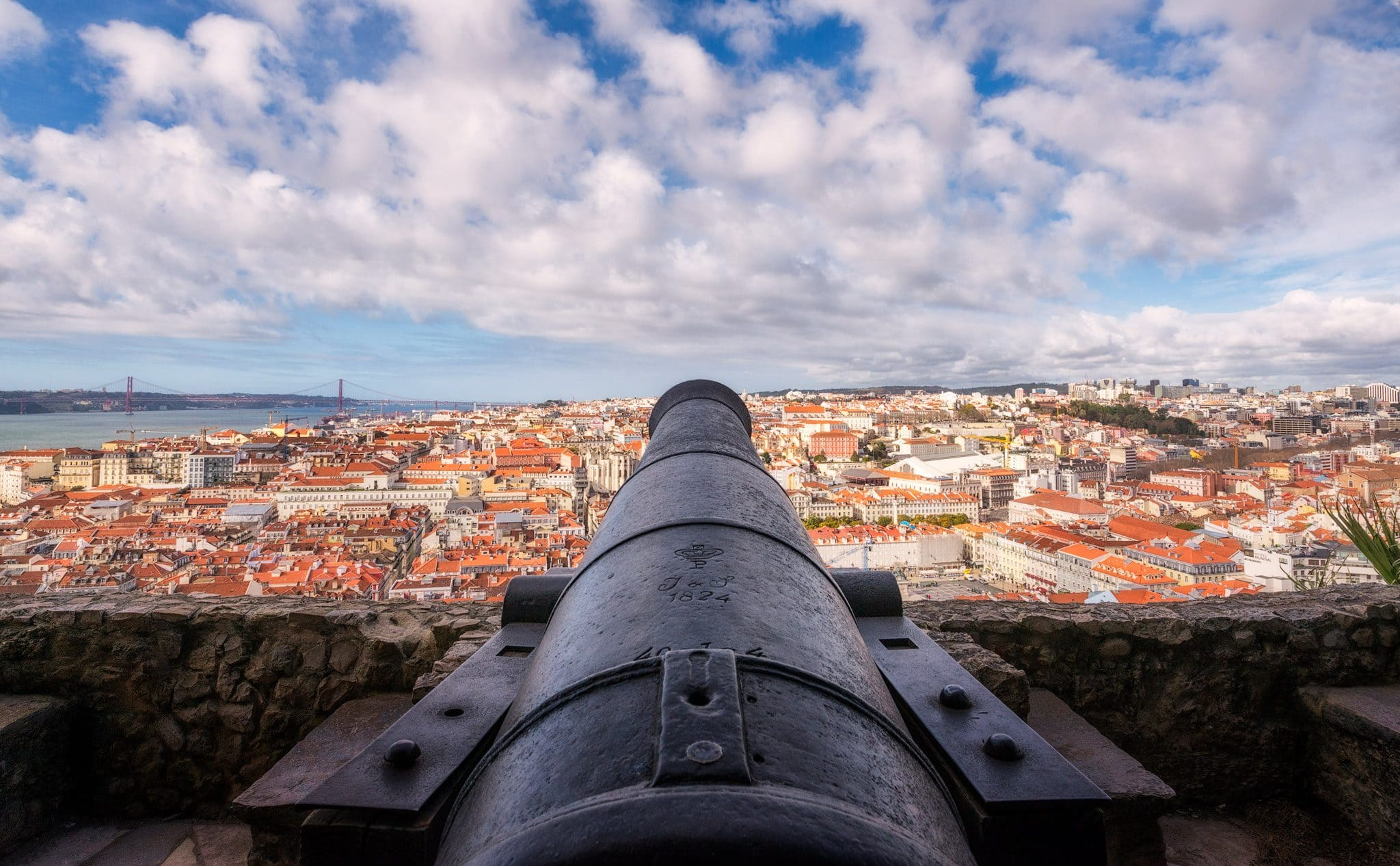 Lisbon Panorama from St George Castle; Portugal in the winter.