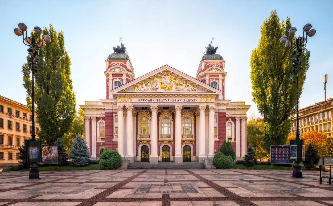 Ivan Vazov National Theatre in the morning sun in Sofia, Bulgaria.