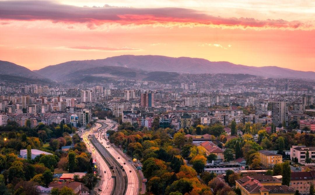 Sofia sunset behind the Mountain Panorama, Bulgaria.