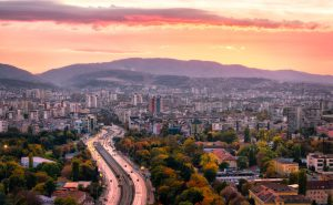 Sofia sunset behind the Mountain Panorama, Bulgaria.
