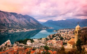 Panorama of the Sunset over Kotor and Bay of Kotor in Montenegro.