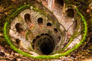 Quinta da Regaleira Gardens and Initiation Well in Sintra, Portugal. View from above.