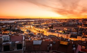 View of Lisbon with the sunset – Uptown to Avenidas Novas; Portugal.