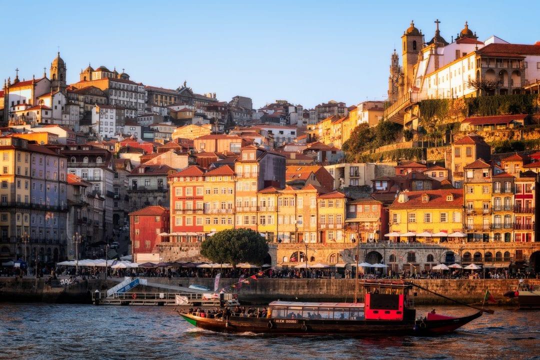 View of Ribeira in Porto from Vila Nova de Gaia in Portugal.