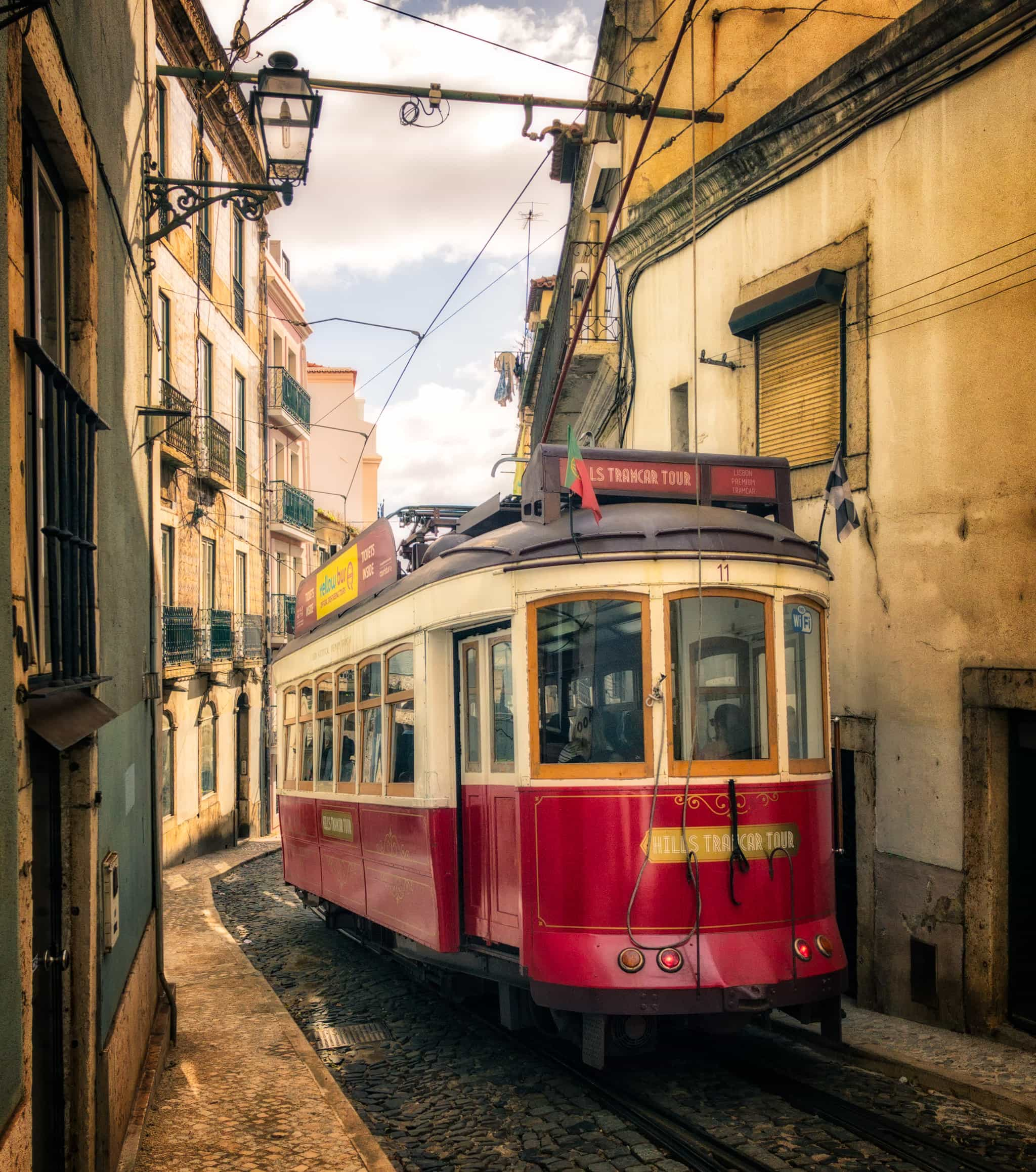 Historical Lisbon tram in Alfama, Portugal.