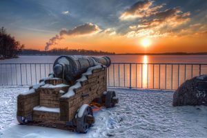 Greenwich Promenade - Cannon at Lake Tegel in Berlin