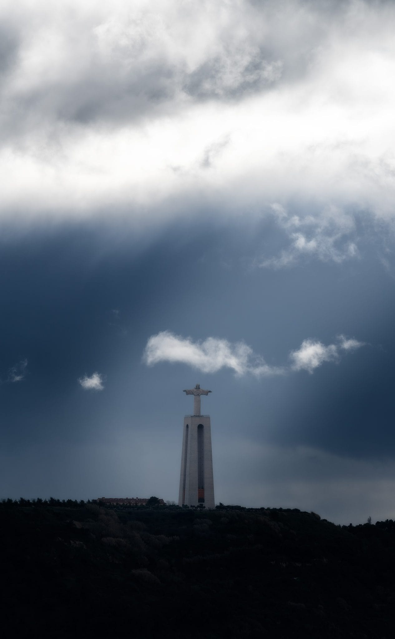 Cristo Rei (Statue of Jesus Christ the King) in Almada opposite to Lisbon, Portugal.