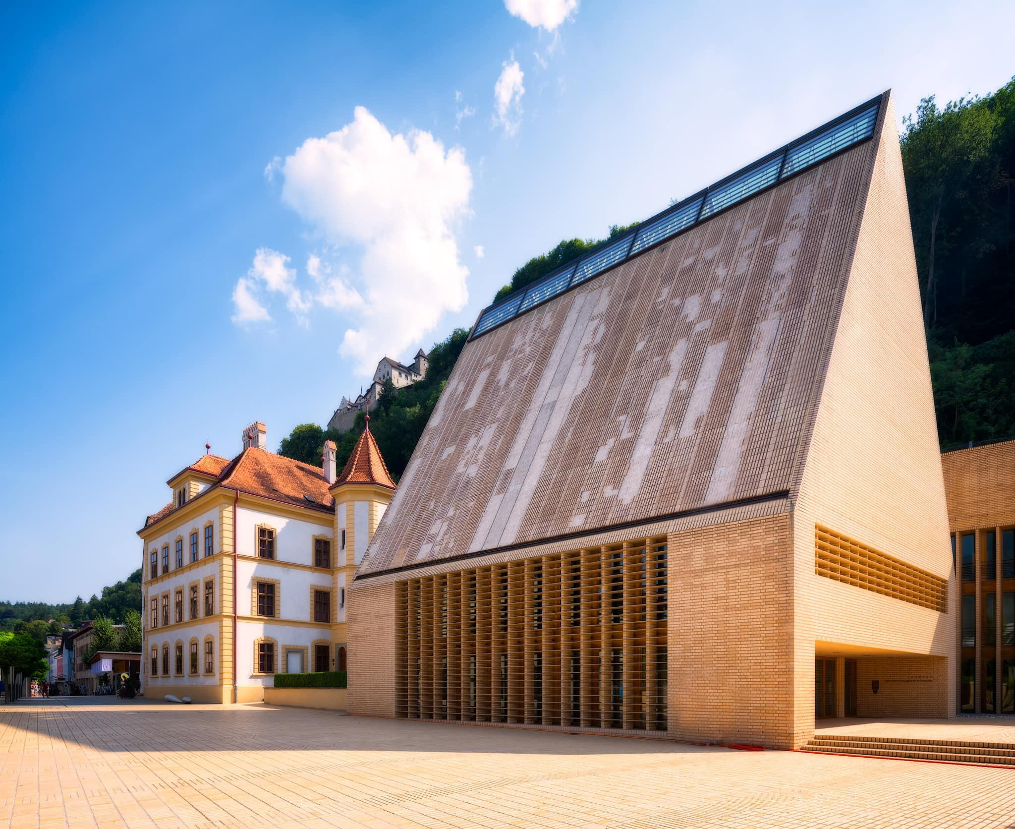 Landtag of Liechtenstein building and the castle of Vaduz, Liechtenstein