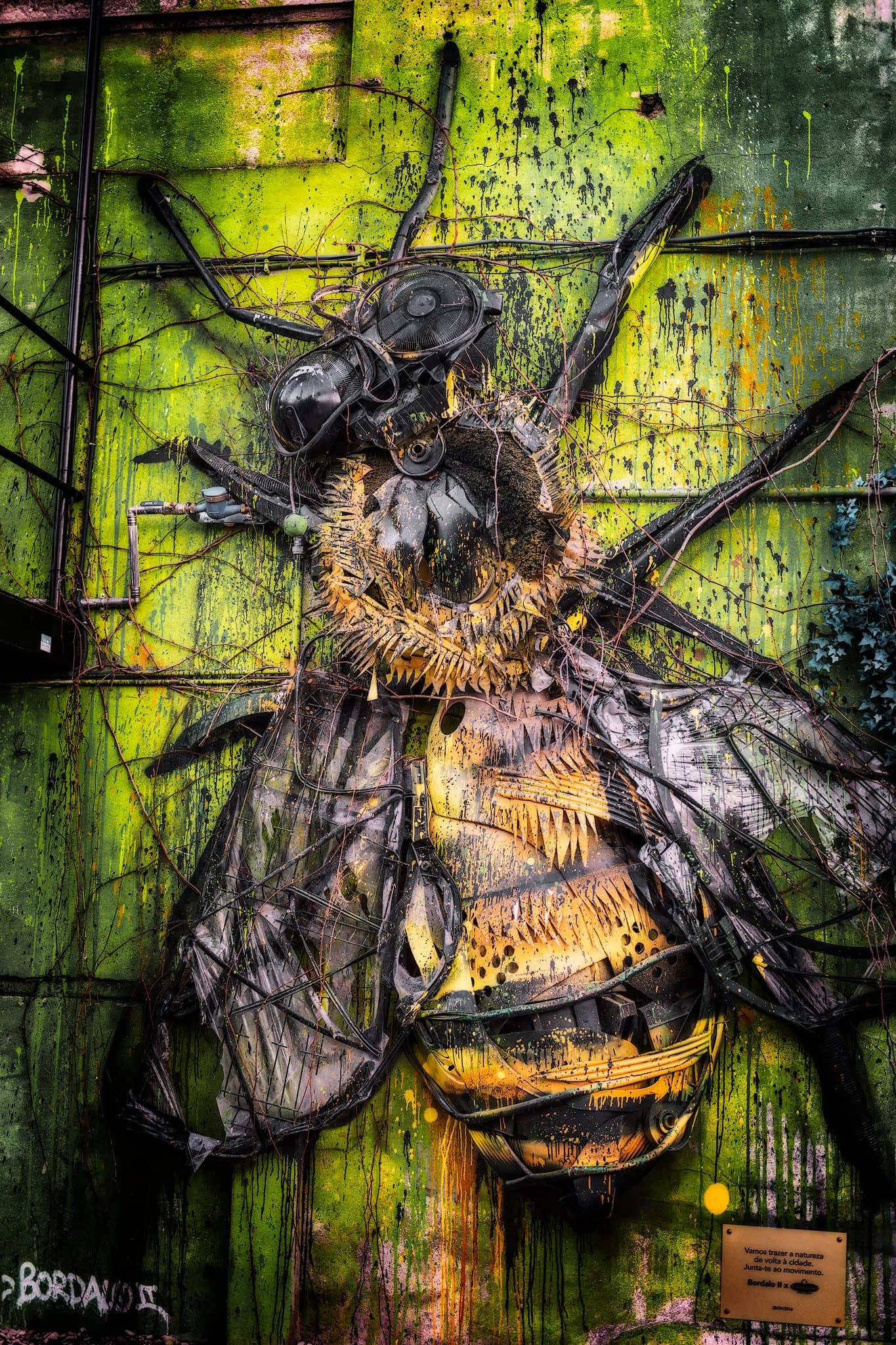 Street art by Bordalo II in Lisbon, Portugal.
