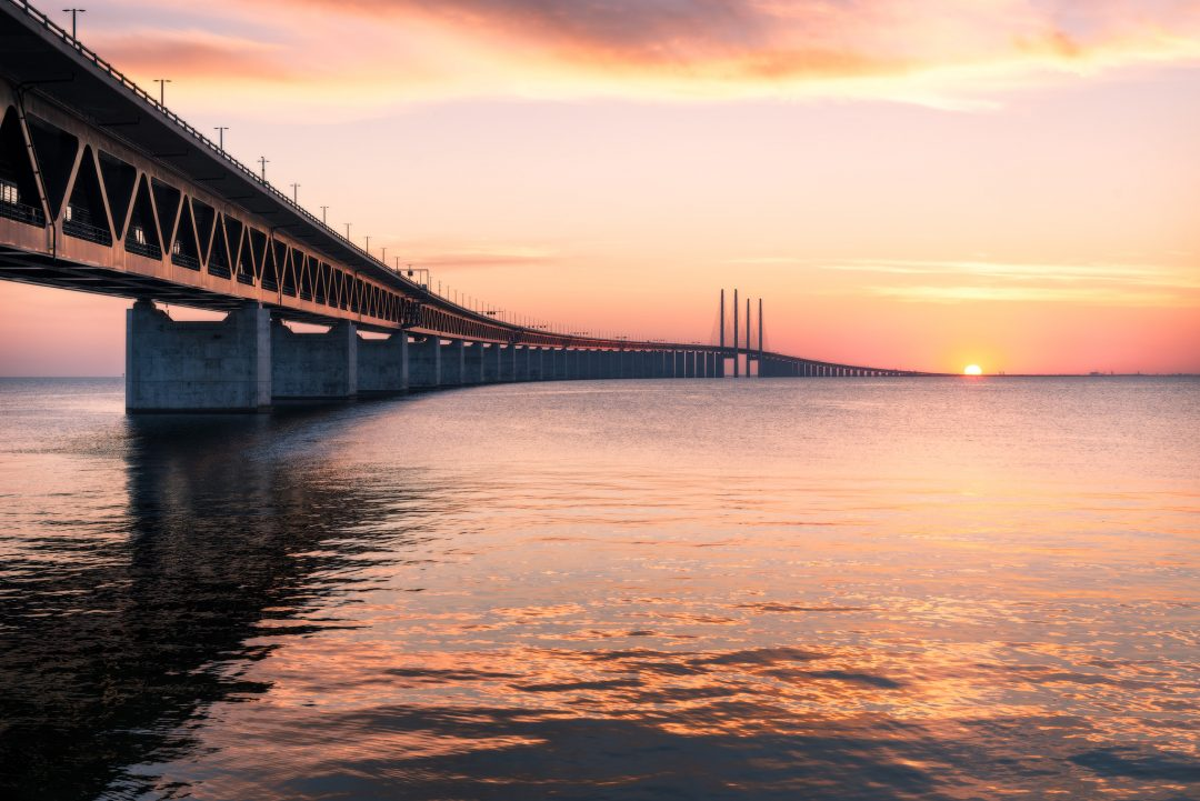 The Öresund Bridge connecting Copenhagen in Denmark and Malmö in Sweden