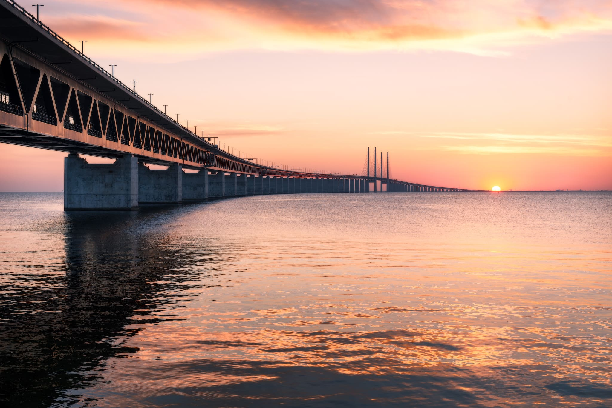 The Öresund Bridge connecting Copenhagen in Denmark and Malmö in Sweden