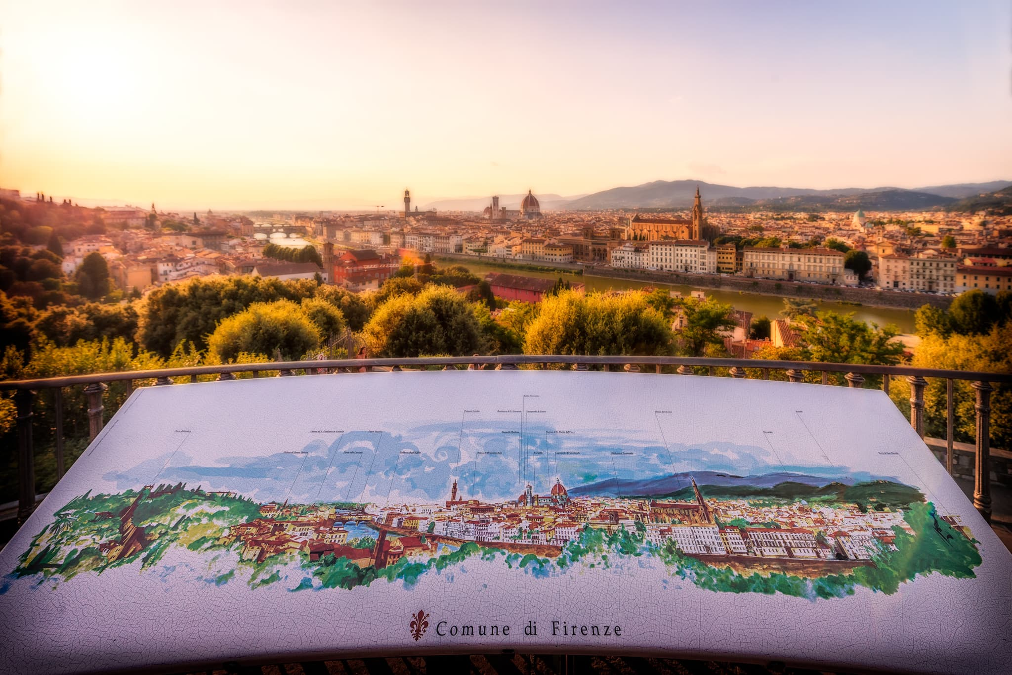 Florence panorama during summer evening; Tuscany in Italy