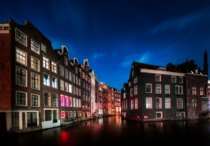 Red Light District in Amsterdam during the night; the Netherlands