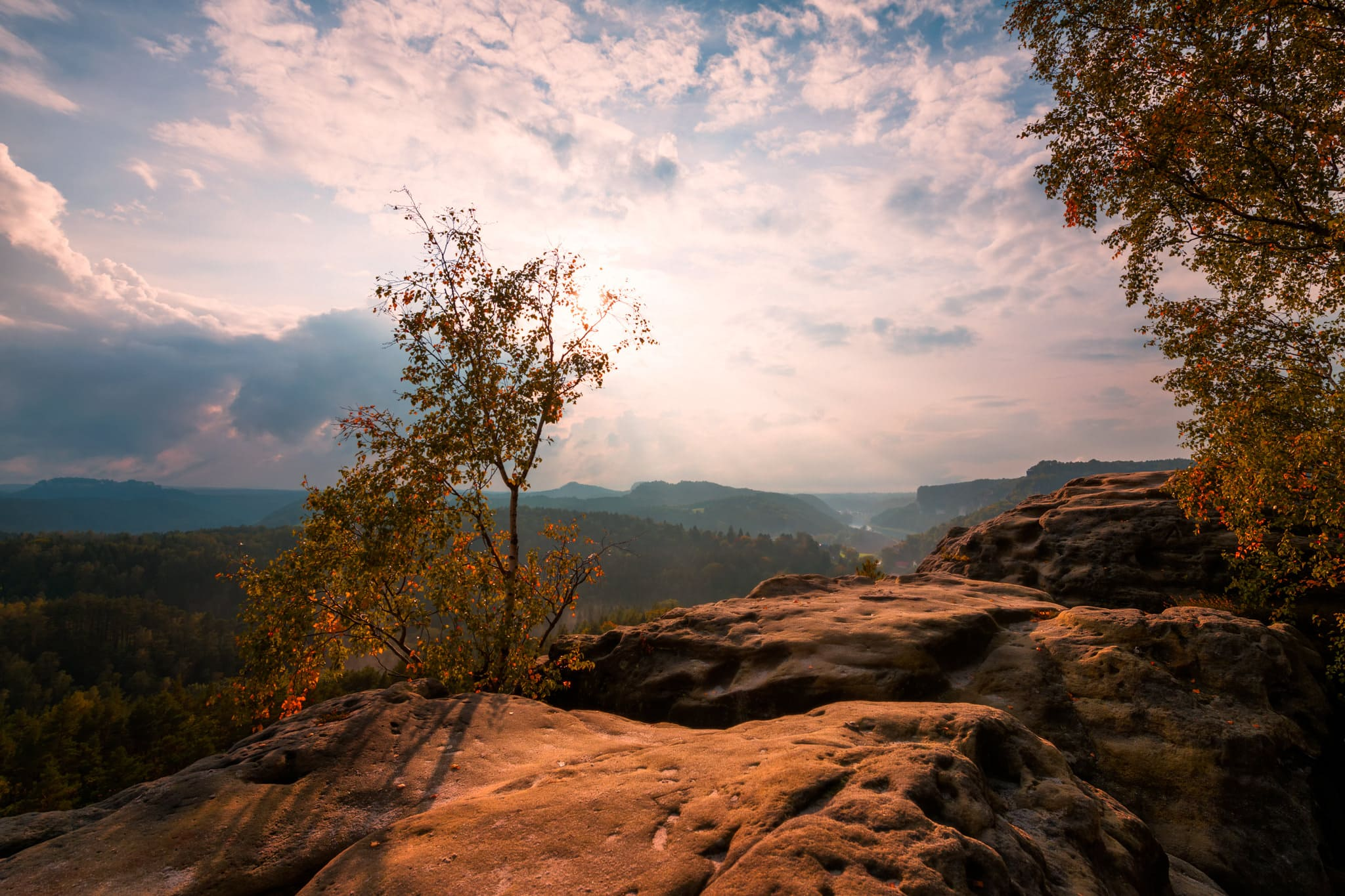 Saxon Switzerland Valley from Gamrig - a sunset view in Germany.