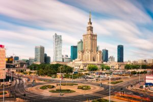 Palace of Culture and Science with Marszalkowska street in Warsaw; Poland