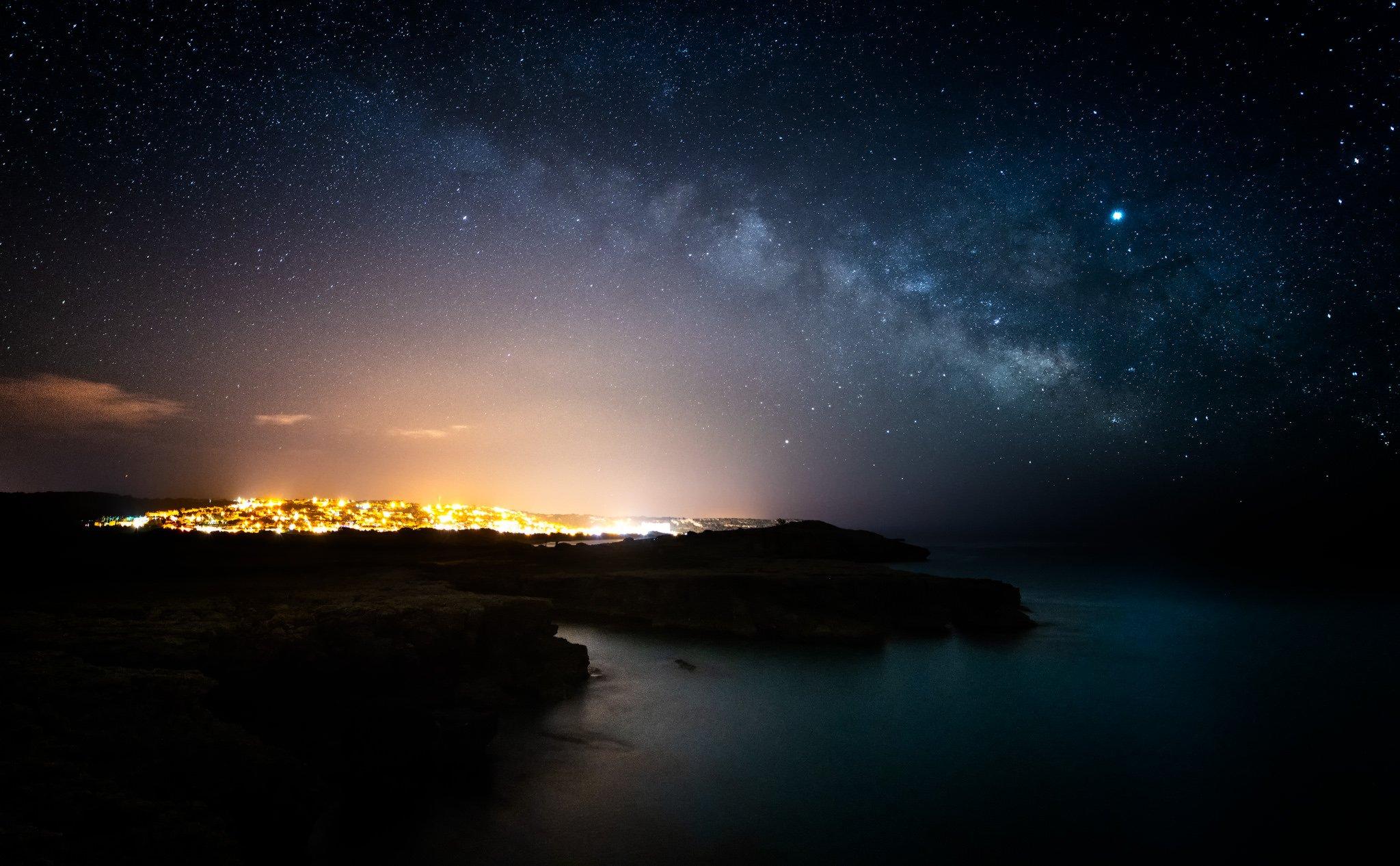 Son Bou Nachtansicht; Menorca; Balearen; Spanien