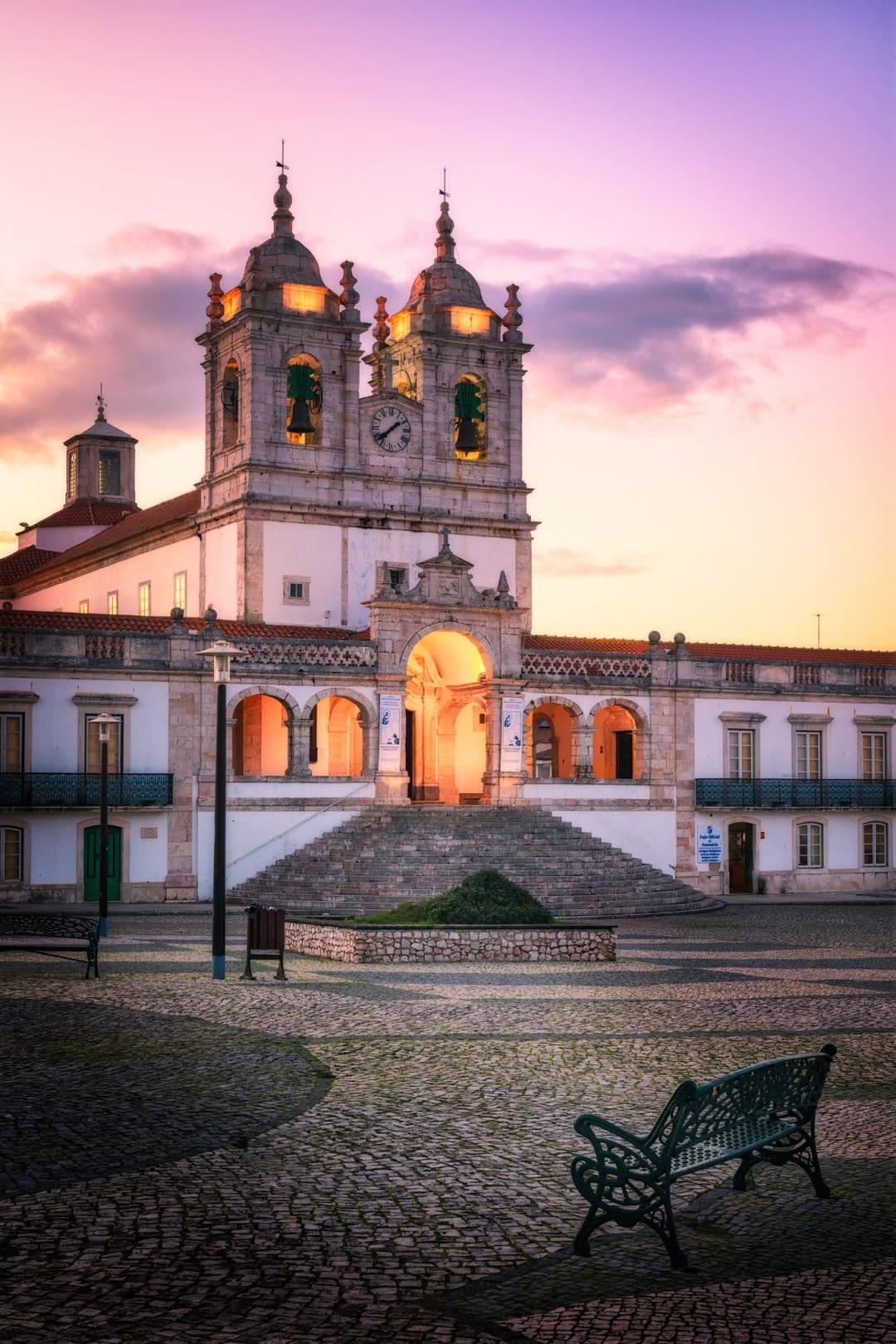 Church of Nossa Senhora da Nazaré. Nazare during sunset, Portugal