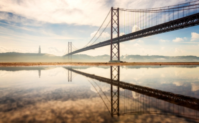 Bridge crossing the Tejo river in Lisbon, Portugal