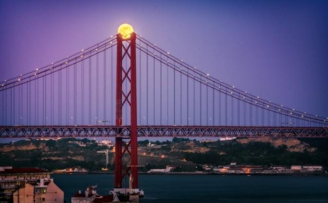 Super moon over Lisbon, Portugal