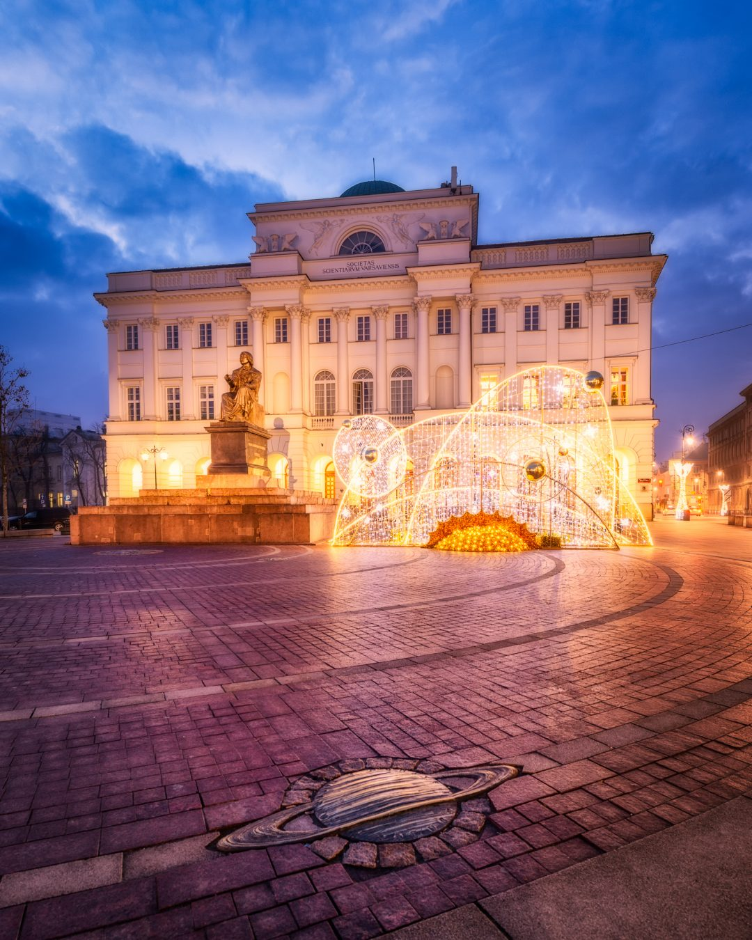 Nicolaus Copernicus Monument in Warsaw, Poland in a special Christmas edition