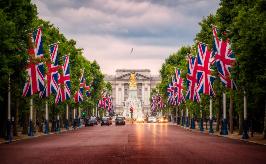 Buckingham Palace and The Mall in London, England