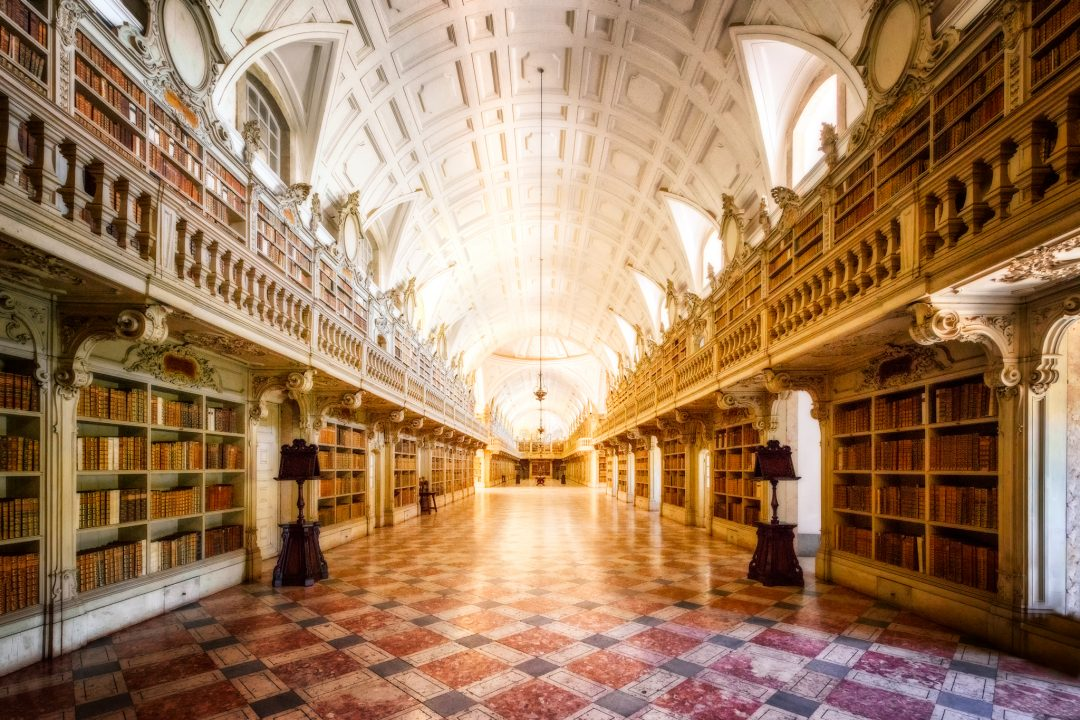 Library inside of the Mafra Palace in the city of Mafra, Portugal