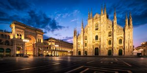 Milan Cathedral - panorama at night; Italy