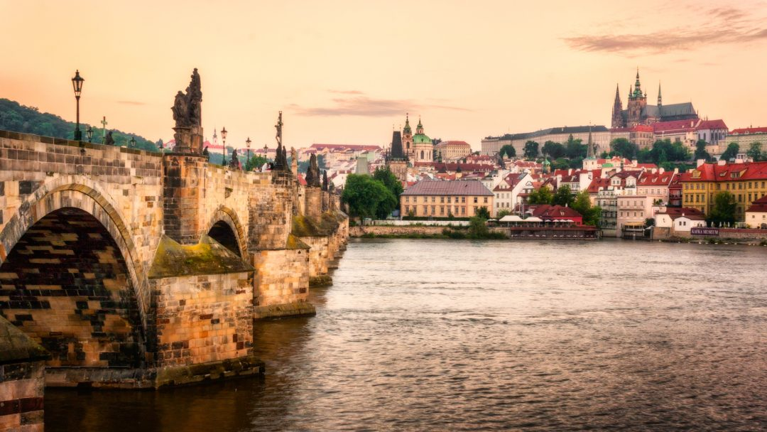 : Charles Bridge and Malá Strana (with Cathedral and Castle) in Prague; Czech Republic