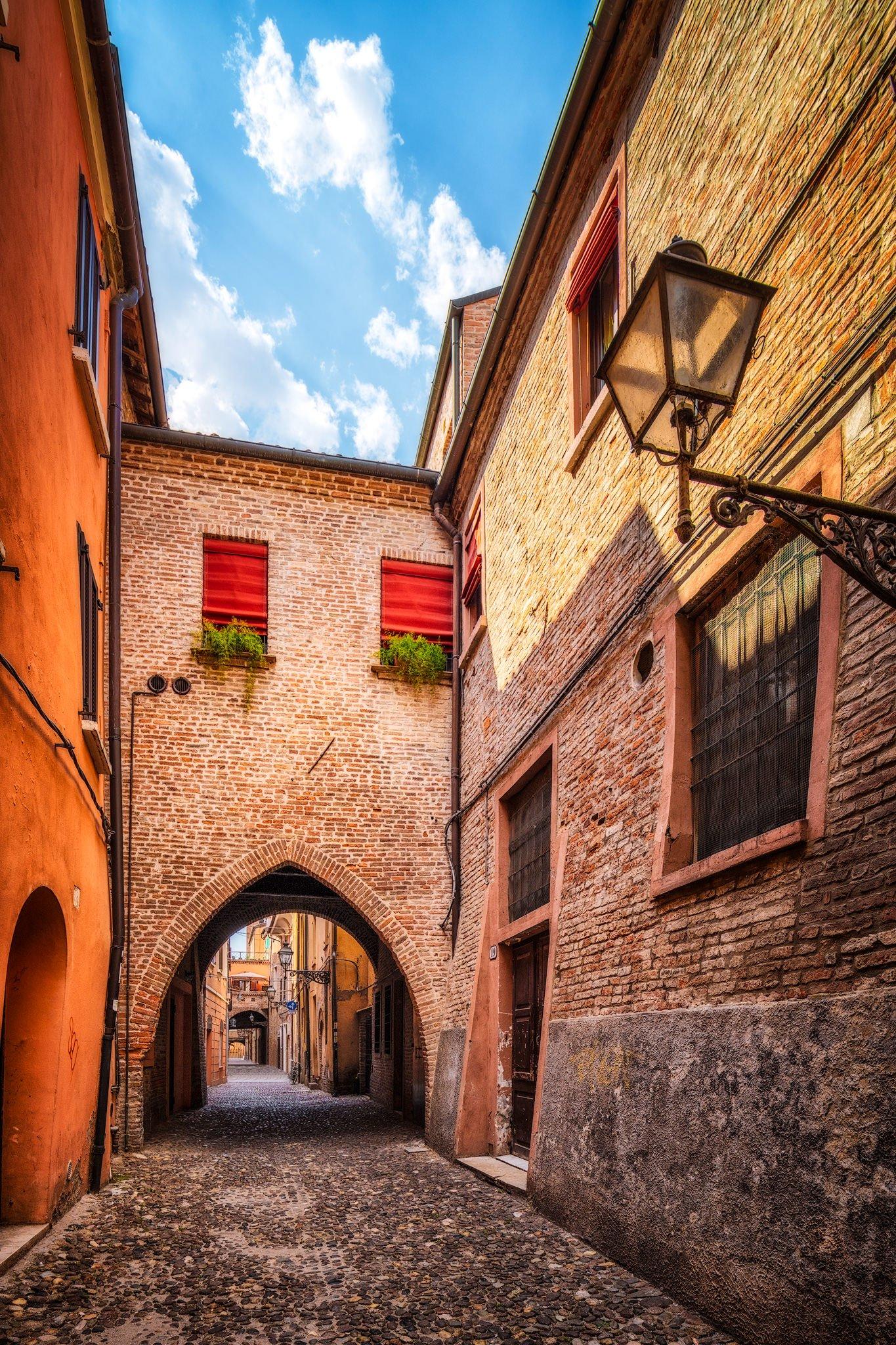 The medieval streets of Ferrara