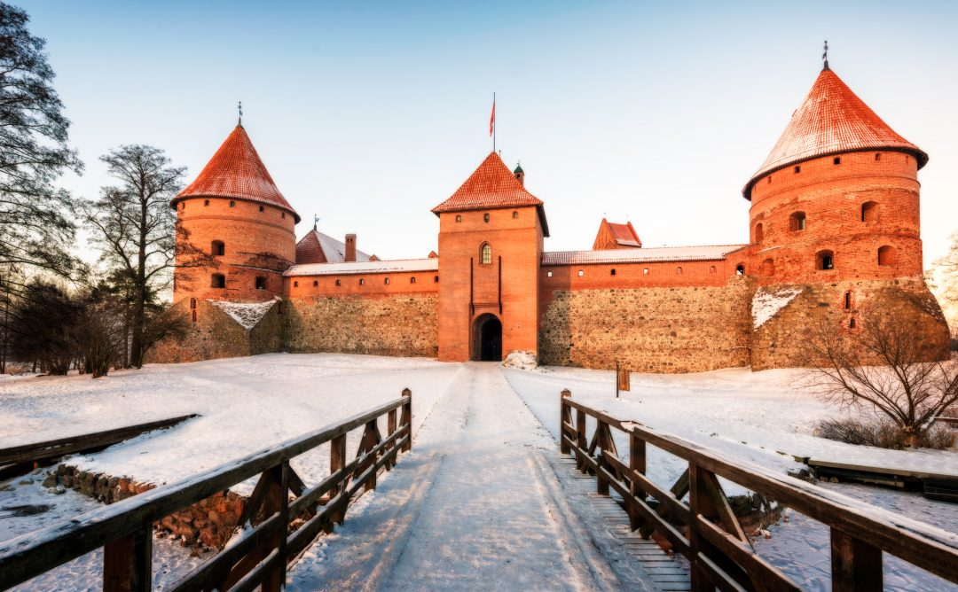 Trakai Castle with snow during winter in Lithuania
