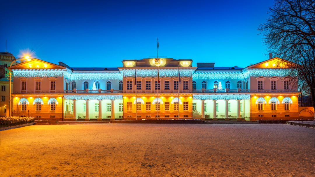 The Presidential Palace of Lithuania in Vilnius with Christmas decoration during winter.