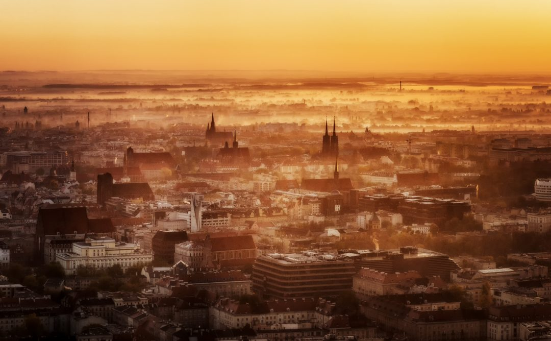 Panorama of the Skyline of Wroclaw, Poland during a foggy sunrise