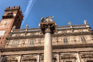 Column of Lion of St. Mark in Verona, Italy