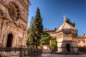 Entrance of the Basilica of Santa Maria Maggiore in Bergamo at sunlight. Italy