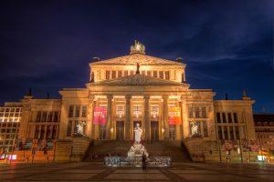 Konzerthaus Berlin by night, Germany.