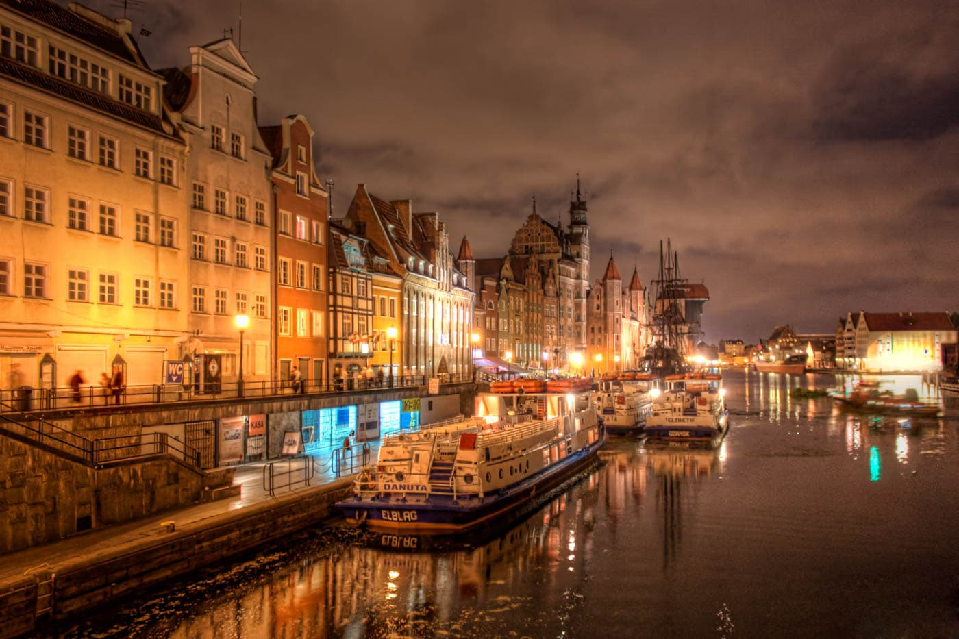 Old Town of Gdansk by Night, Poland