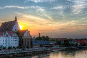 Sunset behind the Concert Hall - Frankfurt (Oder) in Germany