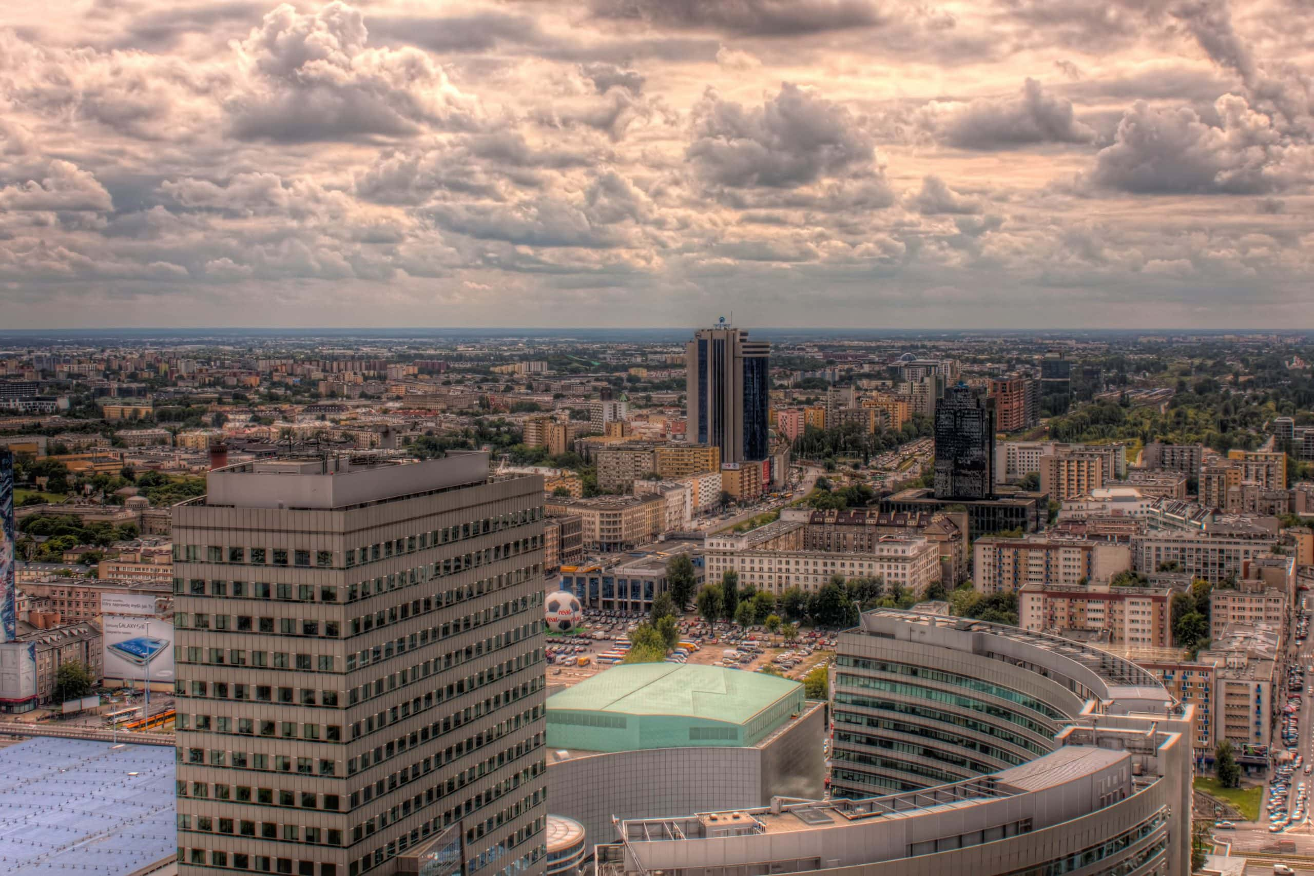 Warsaw panoramic view from the Palace of culture. Poland