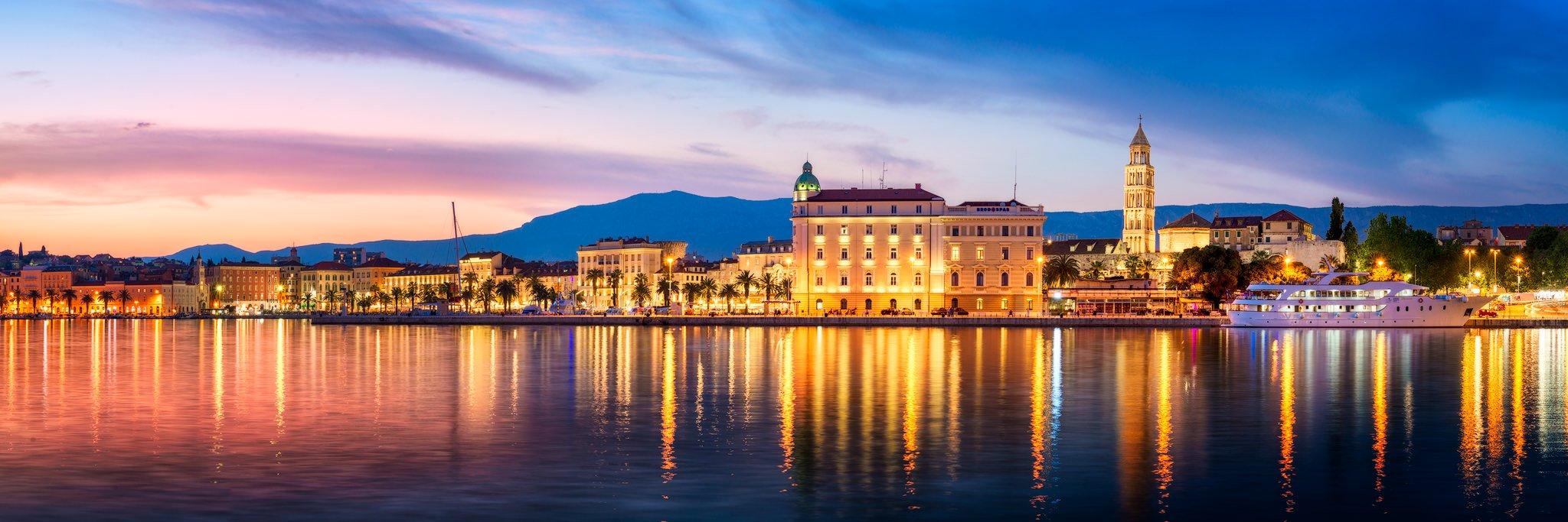 Split Panorama: Promenade, Diocletian's Palace and Port - Croatia in summer
