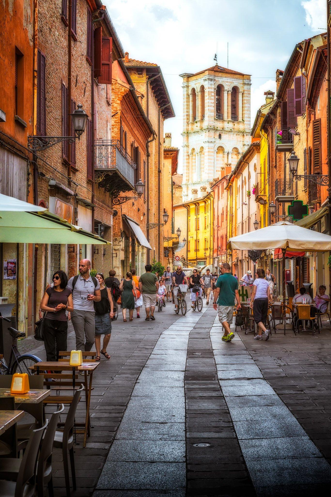 Street in summer - Ferrara; Italy