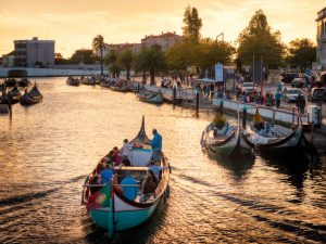 Boats in Aveiro at sunset; Portugal