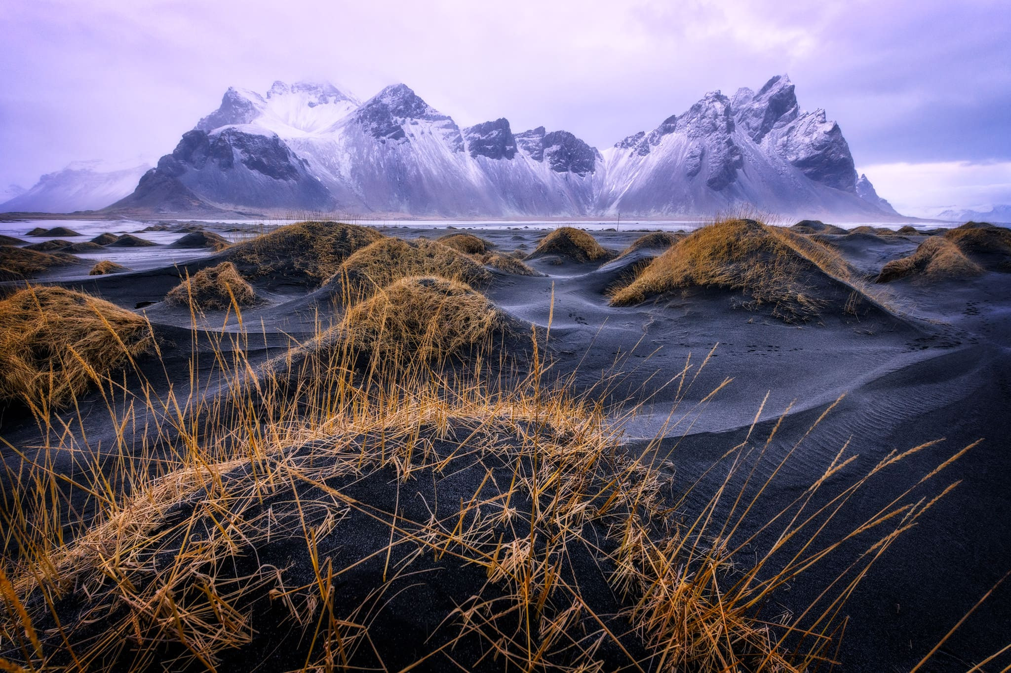 Vestrahorn in the south of Iceland during winter