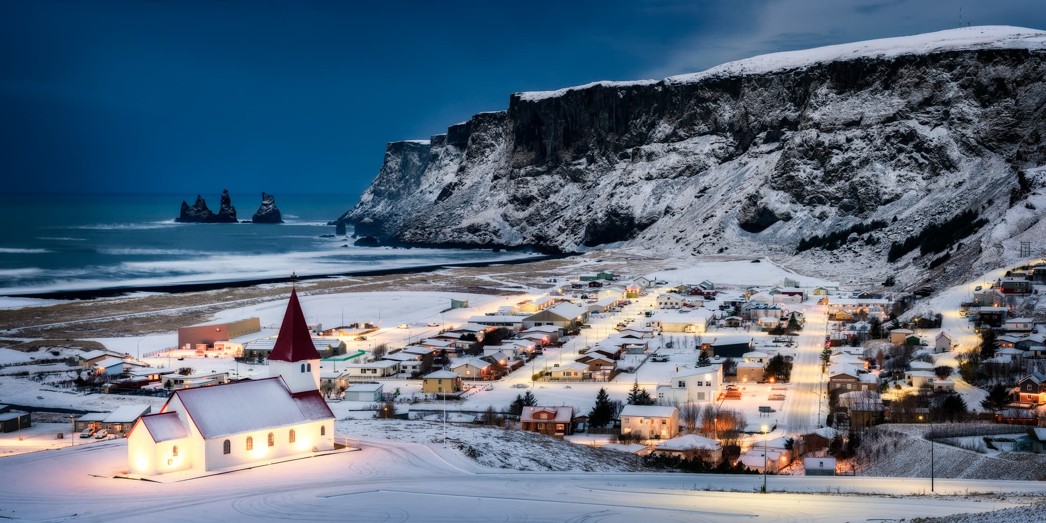 View of Vík í Mýrdal in Iceland with Vík Church