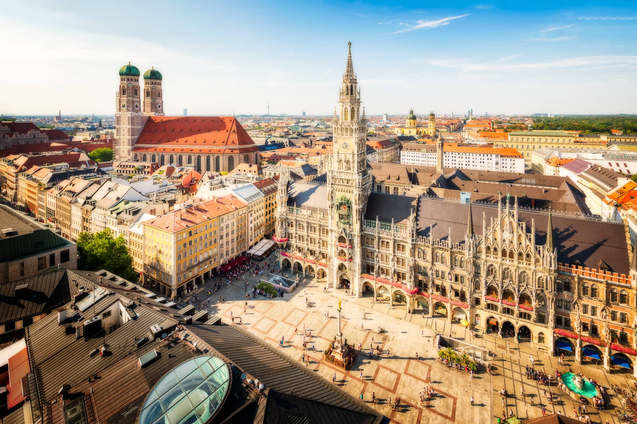 : Marienplatz - Munich city center with a view of the New Town Hall; Germany