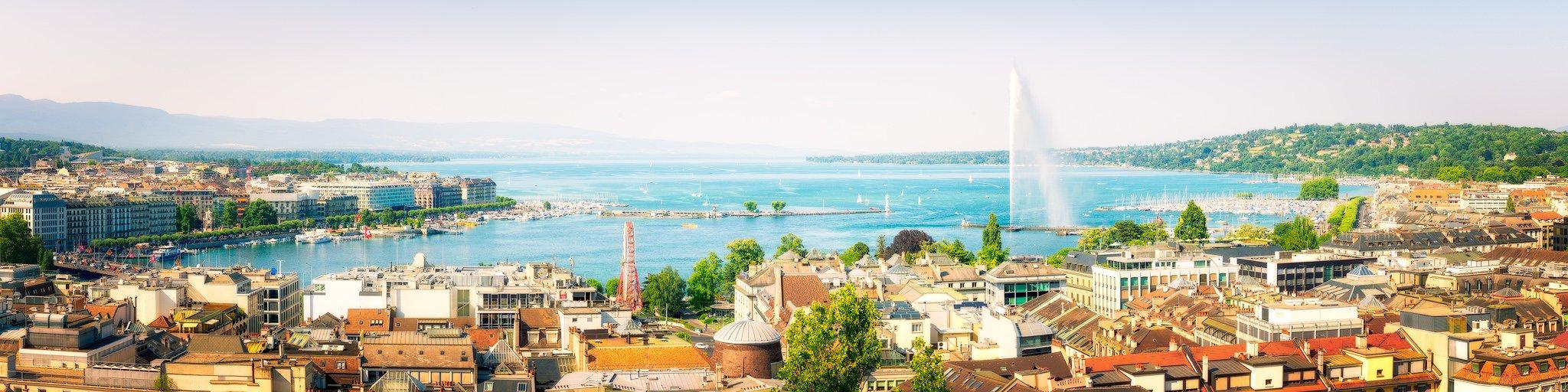Panorama of Geneva and Lake Geneva from Jet d'Eau | Switzerland
