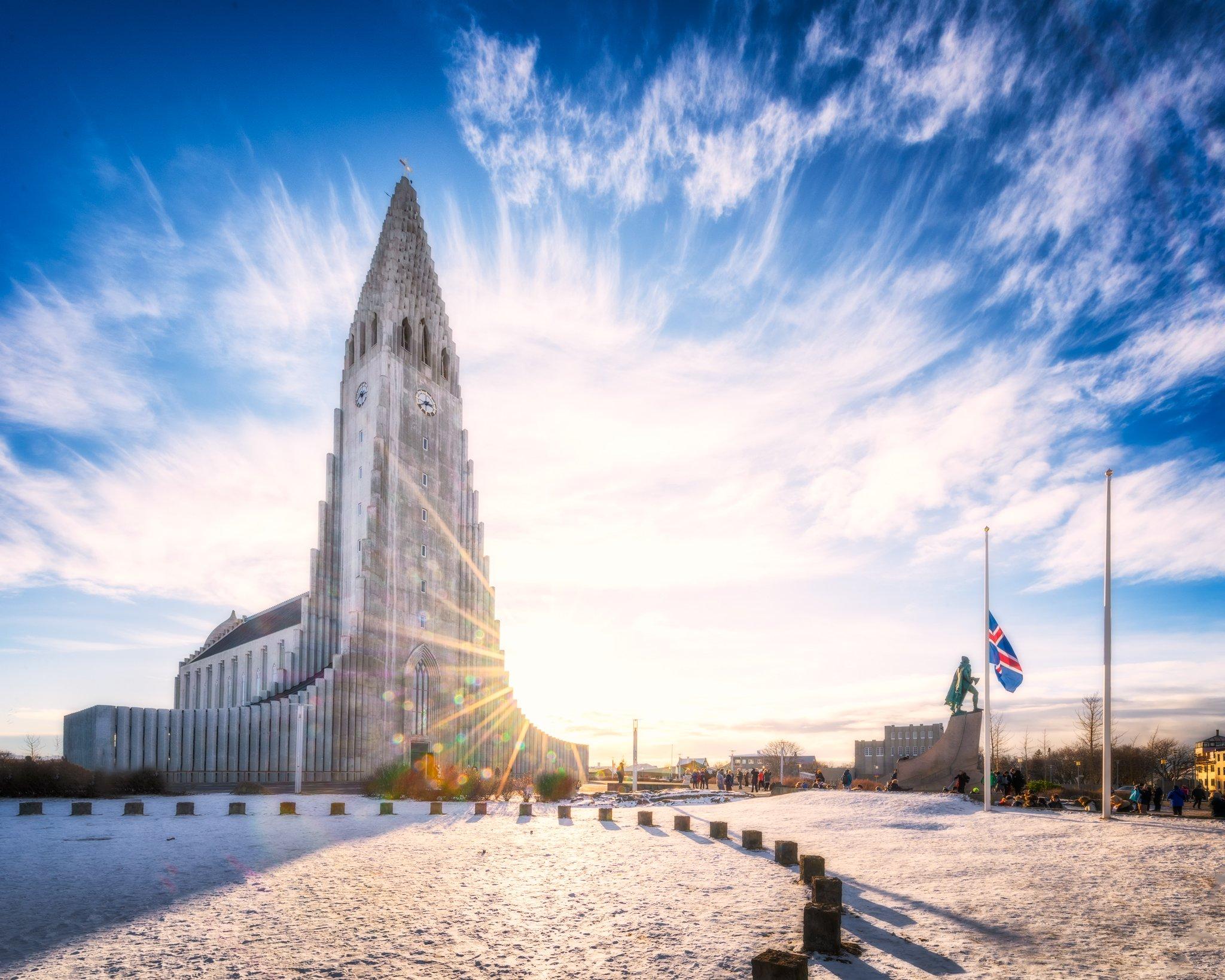 Reykjavik Church at sunset - Hallgrímskirkja, Iceland