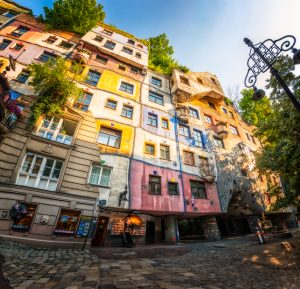 Hundertwasserhouse (entire building) in Vienna, Austria