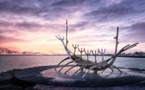 Sun Voyager, sculpture by Jón Gunnar at Sæbraut in Reykjavík, Iceland