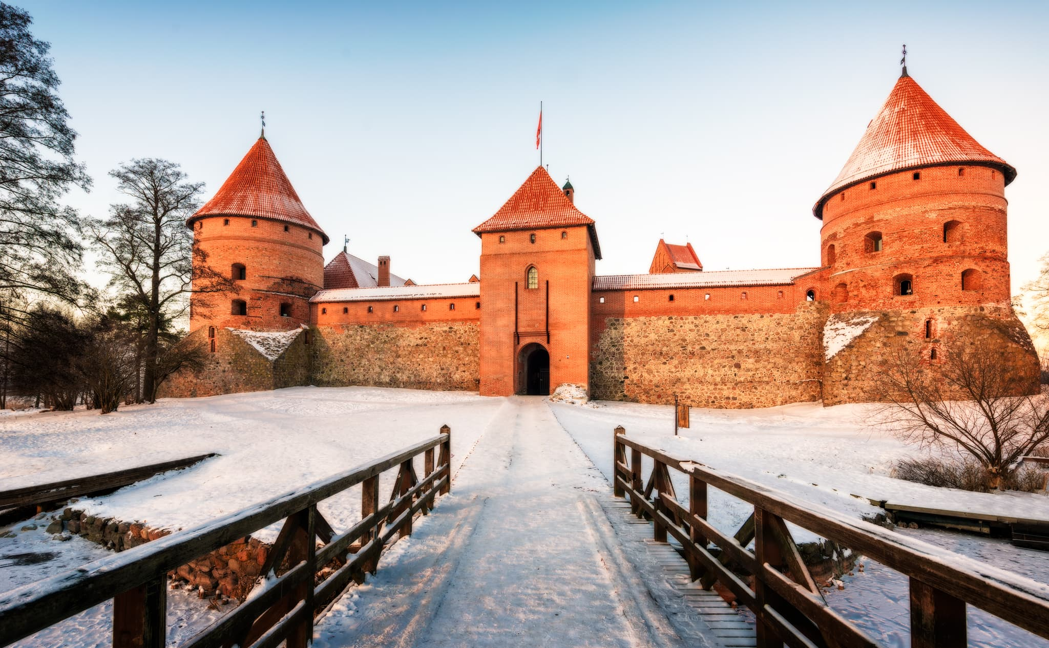 Trakai Castle on Lake Galvė in winter; Lithuania