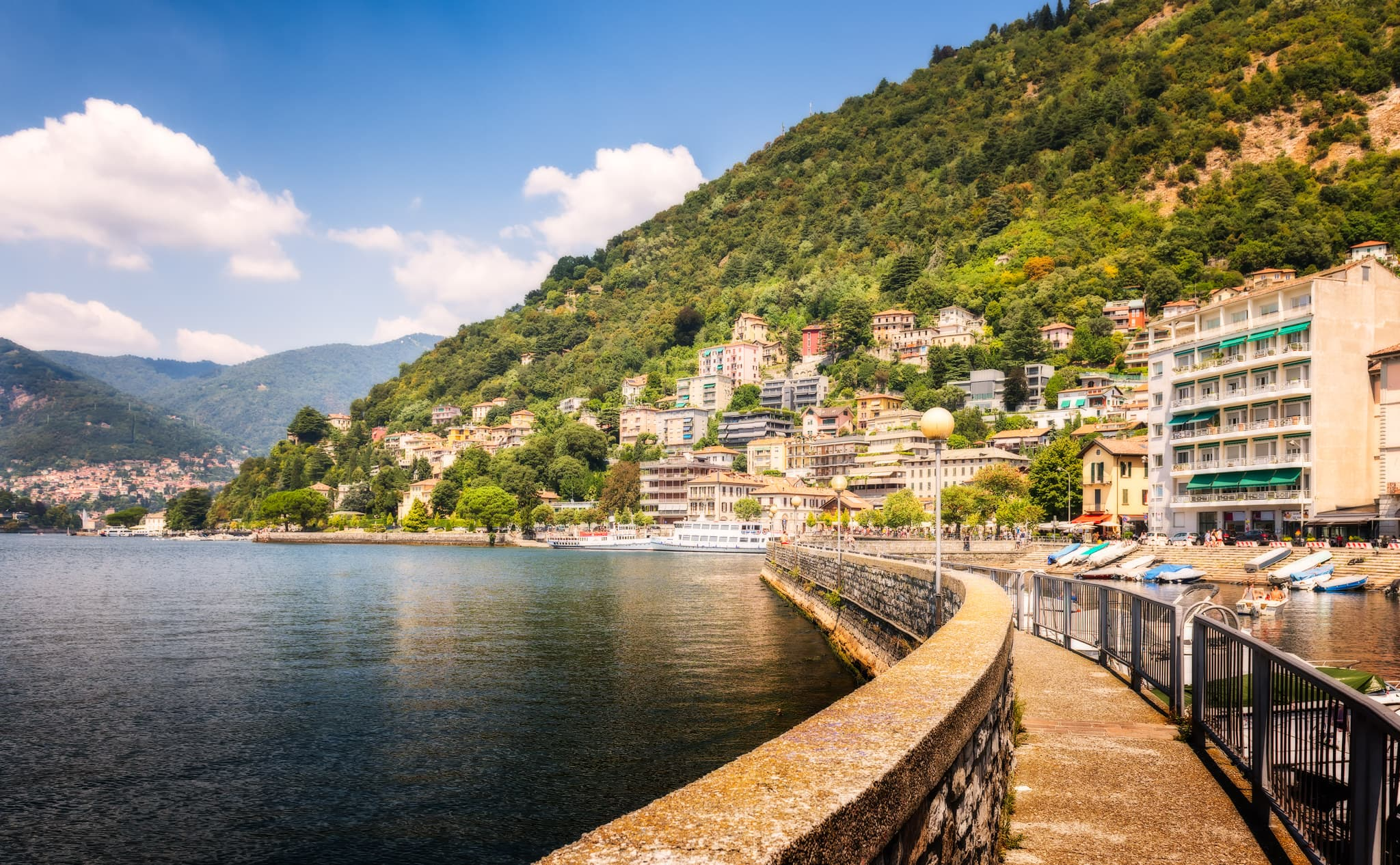 Panorama of Como in Italy - the lake city and the Alps